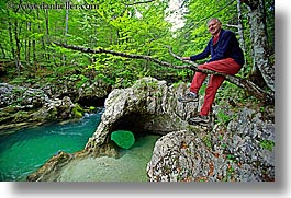 branches, europe, forests, hikers, horizontal, lush, men, richard, rivers, slovenia, triglavski narodni park, photograph
