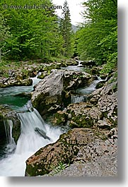 europe, forests, lush, rivers, rsuhing, slovenia, triglavski narodni park, vertical, waterfalls, photograph