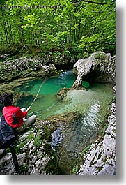 europe, fishing, forests, lush, rivers, rushing, slovenia, triglavski narodni park, vertical, womens, photograph