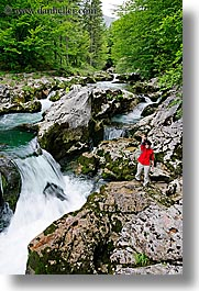 europe, forests, ingrid, lush, rivers, rushing, slovenia, triglavski narodni park, vertical, womens, photograph