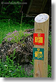 europe, lush, signs, slovenia, trails, triglavski narodni park, vertical, photograph