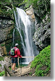 europe, hikers, men, slovenia, triglavski narodni park, vertical, watching, waterfalls, photograph