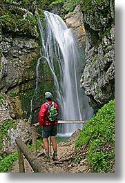 europe, hikers, lush, men, slovenia, slow exposure, triglavski narodni park, vertical, watching, waterfalls, photograph
