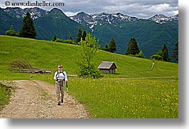 bob, europe, groups, hiking, horizontal, marilyn, mountains, slovenia, snowcaps, trails, wildflowers, womens, photograph