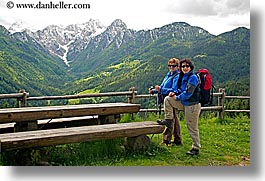 europe, groups, hikers, horizontal, ingrid, ingrid cercek, mountains, patty, slovenia, snowcaps, sunglasses, womens, photograph
