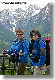 europe, groups, hikers, ingrid, ingrid cercek, mountains, patty, slovenia, snowcaps, sunglasses, vertical, womens, photograph