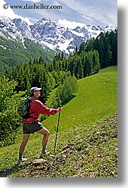 europe, glaize, groups, hikers, hiking, jacks, mary, men, mountains, scenics, slovenia, snowcaps, trees, uphill, vertical, photograph