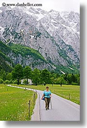 clark, europe, groups, hikers, hiking, james, men, mountains, patty, slovenia, snowcaps, vertical, walking, photograph
