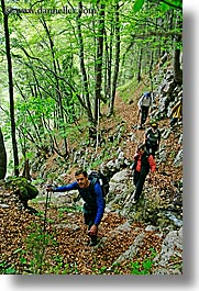 blalock, europe, forests, groups, hikers, hiking, jenna, jim, lush, men, slovenia, trees, vertical, photograph