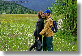 christie, christy, couples, europe, groups, horizontal, kissing, men, slovenia, stuart, wildflowers, womens, photograph