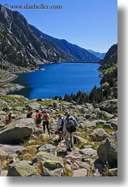 activities, aiguestortes hike, europe, hikers, hiking, lakes, mountains, nature, people, spain, vertical, photograph