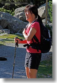 ae ja, aiguestortes hike, asian, emotions, europe, happy, hikers, people, smiles, spain, vertical, womens, photograph