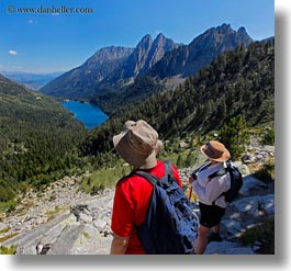activities, aiguestortes hike, europe, hikers, hiking, lakes, mountains, nature, people, spain, square format, photograph