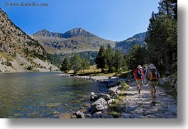 activities, aiguestortes hike, europe, hikers, hiking, horizontal, mountains, nature, paths, people, rivers, spain, photograph