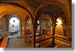 ainsa, archways, churches, europe, horizontal, slow exposure, spain, structures, undercroft, photograph