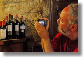 ainsa, artists, beards, bottles, europe, horizontal, men, people, photographers, photographing, senior citizen, spain, tourists, wines, photograph