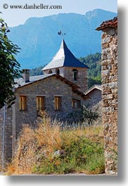 ansovell, belfry, churches, europe, houses, mountains, nature, spain, vertical, photograph