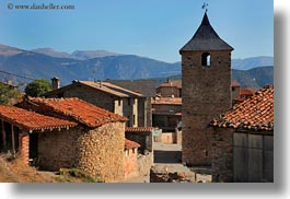 ansovell, belfry, churches, europe, horizontal, houses, mountains, nature, spain, photograph