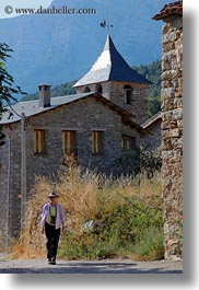 ansovell, belfry, churches, europe, hikers, houses, people, senior citizen, spain, tourists, vertical, womens, photograph