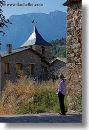 ansovell, belfry, churches, europe, hikers, houses, mountains, nature, people, senior citizen, spain, tourists, vertical, womens, photograph