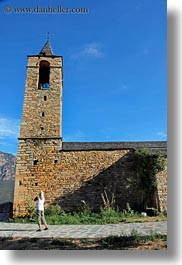 ansovell, belfry, churches, europe, hikers, people, senior citizen, spain, vertical, womens, photograph