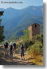 activities, ansovell, belfry, europe, hikers, hiking, mountains, nature, people, spain, vertical, photograph
