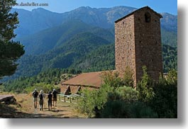 activities, ansovell, belfry, europe, hikers, hiking, horizontal, mountains, nature, people, spain, photograph