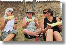 ansovell, emotions, europe, groups, happy, horizontal, laugh, melons, people, senior citizen, smiles, spain, tourists, womens, photograph