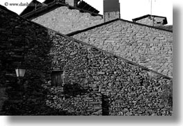 black and white, estamariu, europe, horizontal, lamps, rocks, spain, streets, walls, photograph