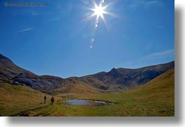 activities, europe, hikers, hiking, hills, horizontal, mt bisaurin, nature, people, sky, spain, sun, photograph