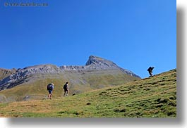 activities, europe, hikers, hiking, hills, horizontal, mountains, mt bisaurin, nature, people, spain, photograph