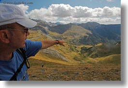 europe, horizontal, joserra, landscapes, mt bisaurin, people, pointing, spain, tour guides, photograph