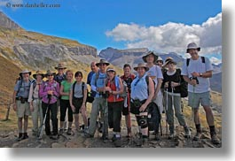 emotions, europe, groups, happy, horizontal, mountains, mt bisaurin, nature, people, smiles, spain, tourists, photograph