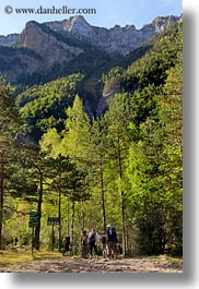 activities, europe, forests, hikers, hiking, mountains, nature, ordesa, people, plants, spain, trees, vertical, photograph