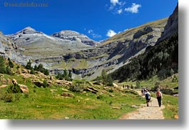 activities, europe, hikers, hiking, horizontal, mountains, nature, ordesa, people, spain, valley, photograph