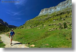 activities, beards, europe, hikers, hiking, horizontal, mountains, nature, ordesa, people, spain, valley, photograph