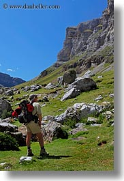 activities, europe, hikers, hiking, mountains, nature, ordesa, people, spain, valley, vertical, photograph