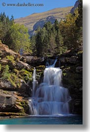 europe, ordesa, slow exposure, spain, vertical, waterfalls, photograph