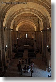 arches, archways, churches, europe, iglesia monasterio de san pedro, people, siresa, spain, structures, vertical, photograph