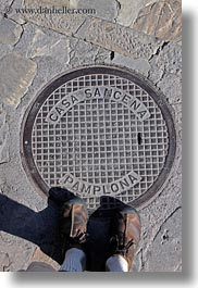 covers, europe, manholes, pamplona, siresa, spain, vertical, photograph