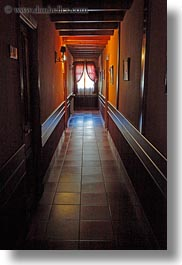 bright, dark, europe, glow, hallway, hotel villa de torla, lights, spain, torla, vertical, windows, photograph