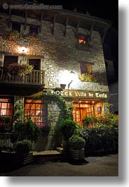 europe, facades, glow, hotel villa de torla, hotels, lights, nite, slow exposure, spain, torla, vertical, photograph