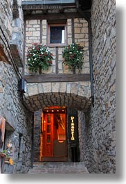 europe, narrow, pizzaria, spain, streets, torla, vertical, photograph