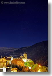 churches, europe, glow, lights, long exposure, nite, spain, stars, torla, towns, vertical, photograph