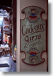 cadeaux, chamonix, europe, signs, switzerland, vertical, photograph