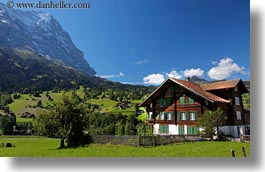 eiger, europe, grindelwald, horizontal, houses, mountains, nature, snowcaps, switzerland, photograph