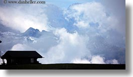 clouds, europe, grindelwald, horizontal, houses, mountains, nature, sky, switzerland, photograph