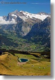 clouds, europe, grindelwald, lakes, mountains, nature, sky, snowcaps, switzerland, vertical, photograph