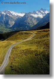 europe, grindelwald, mountains, nature, roads, snowcaps, switzerland, vertical, photograph