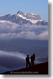europe, hikers, silhouettes, switzerland, vertical, photograph